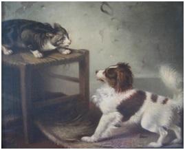 schilderij hond en kat