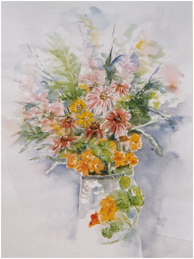 vaas met bloemen aquarel